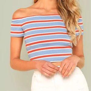 Tops - Striped Off The Shoulder Short Sleeve Crop Top